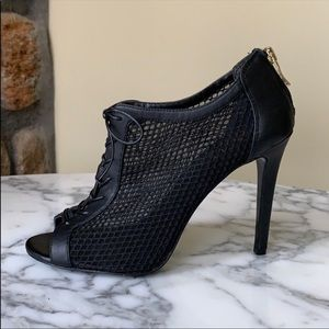 BCBG Paris Arria Black Lace Up Peep Toe Mesh Heel